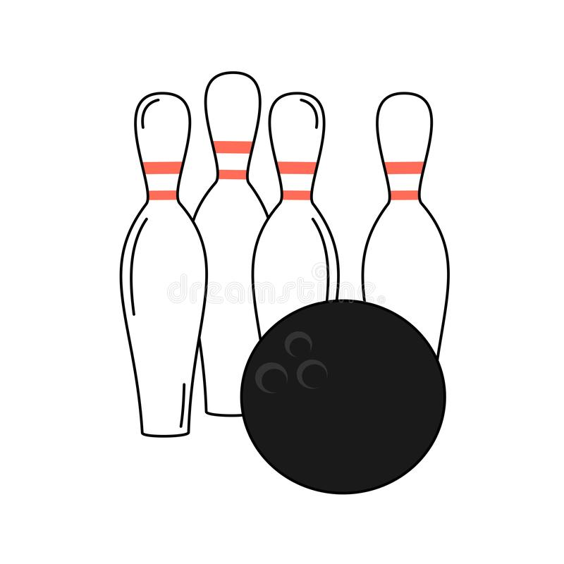 Cute cartoon vector bowling ball and pins isolated on white background royalty free illustration