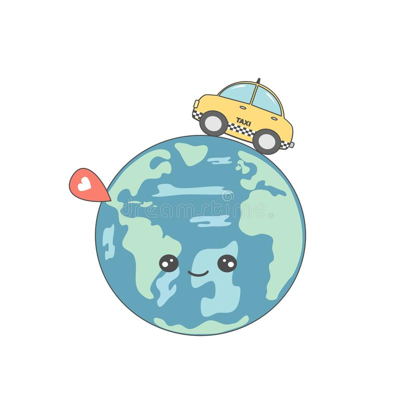 Cute cartoon vector concept illustration with taxi cab around earth and map pointer. Cute cartoon concept illustration with taxi cab around earth and map pointer royalty free illustration