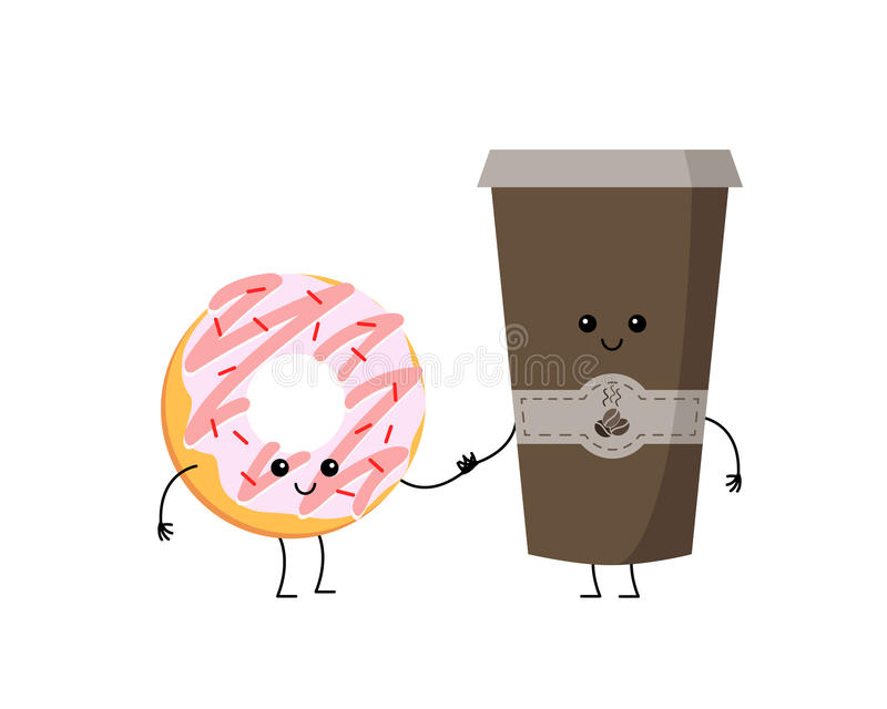 Cute cartoon vector donut and coffee characters royalty free illustration