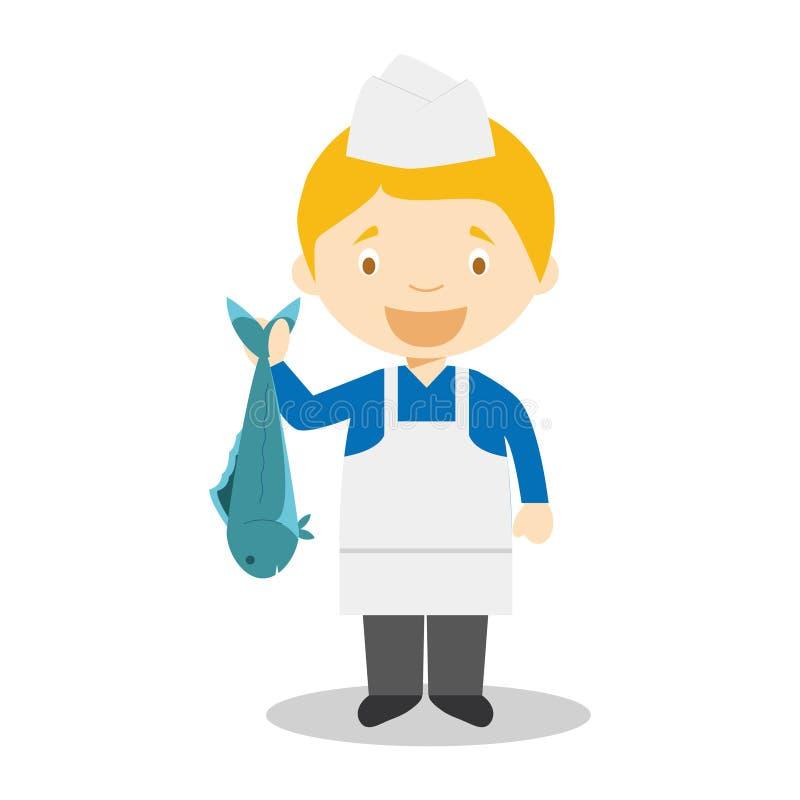 Fishmonger stock vector. Illustration of vector, fish ...