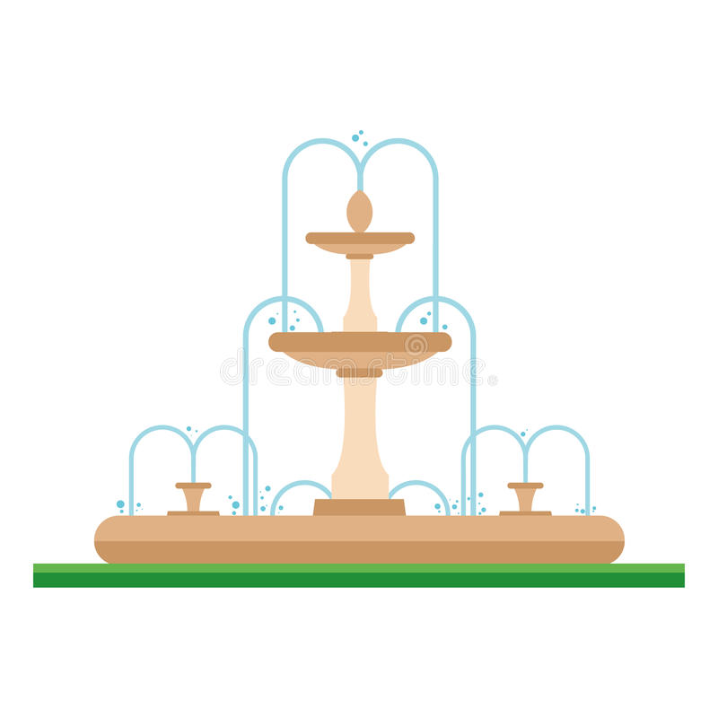 Cute cartoon vector illustration of a fountain in the park royalty free illustration