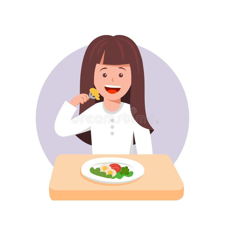 Cute cartoon vector illustration of girl sad with her dinner vector illustration