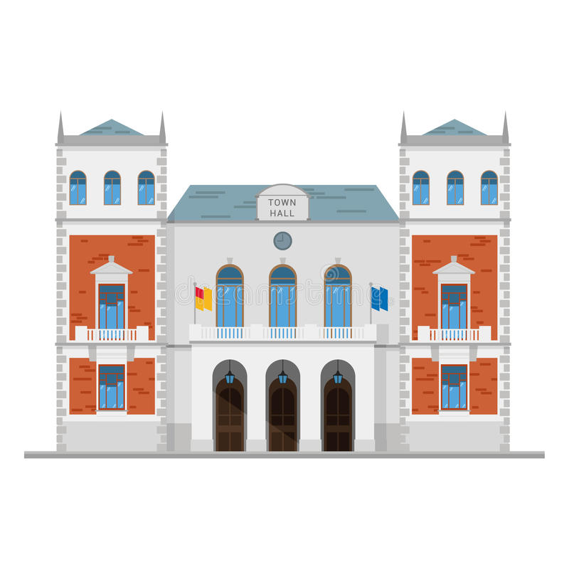 Free Cute Cartoon Vector Illustration Of A Town Hall Stock Photography - 69110692