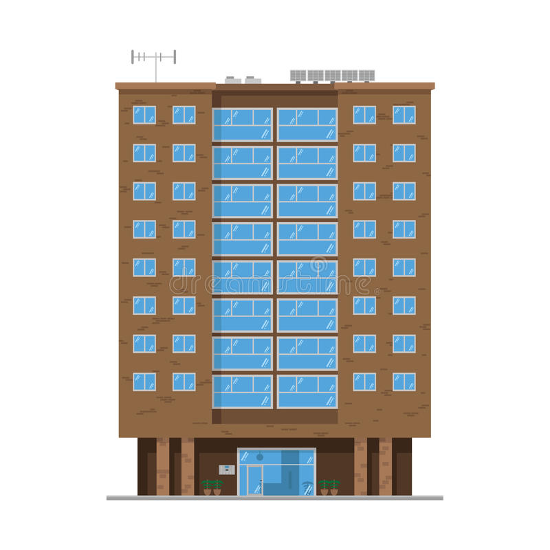 Cute cartoon vector illustration of a residential building vector illustration