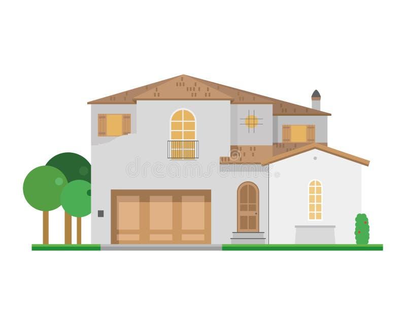 Cute cartoon vector illustration of a residential villa stock illustration