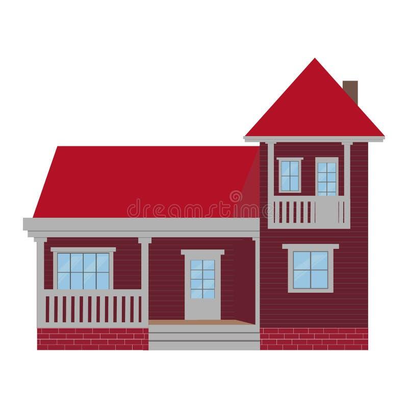 Cute cartoon vector illustration of a residential villa vector illustration