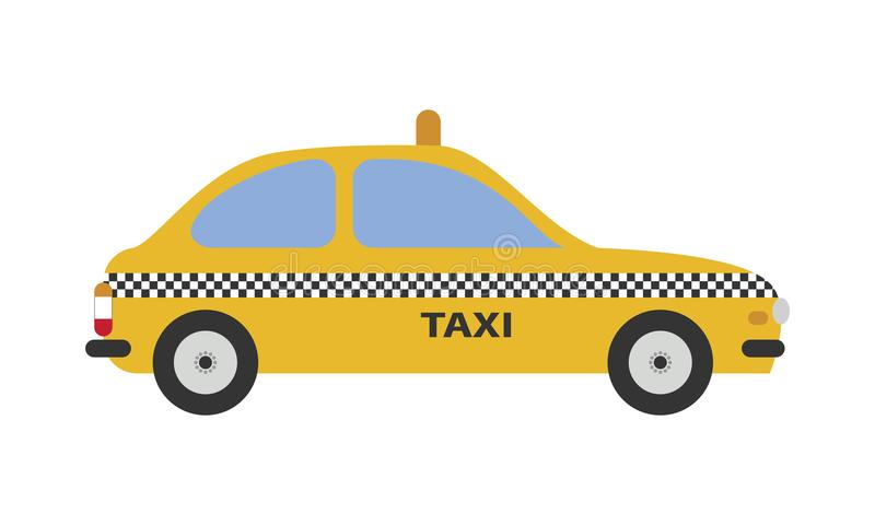 Cute cartoon vector illustration of a taxi cab. City Creator elements Collection royalty free illustration
