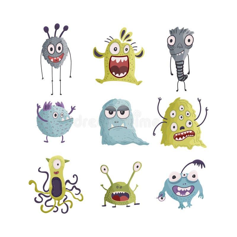 Cute cartoon monsters. Vector. stock illustration