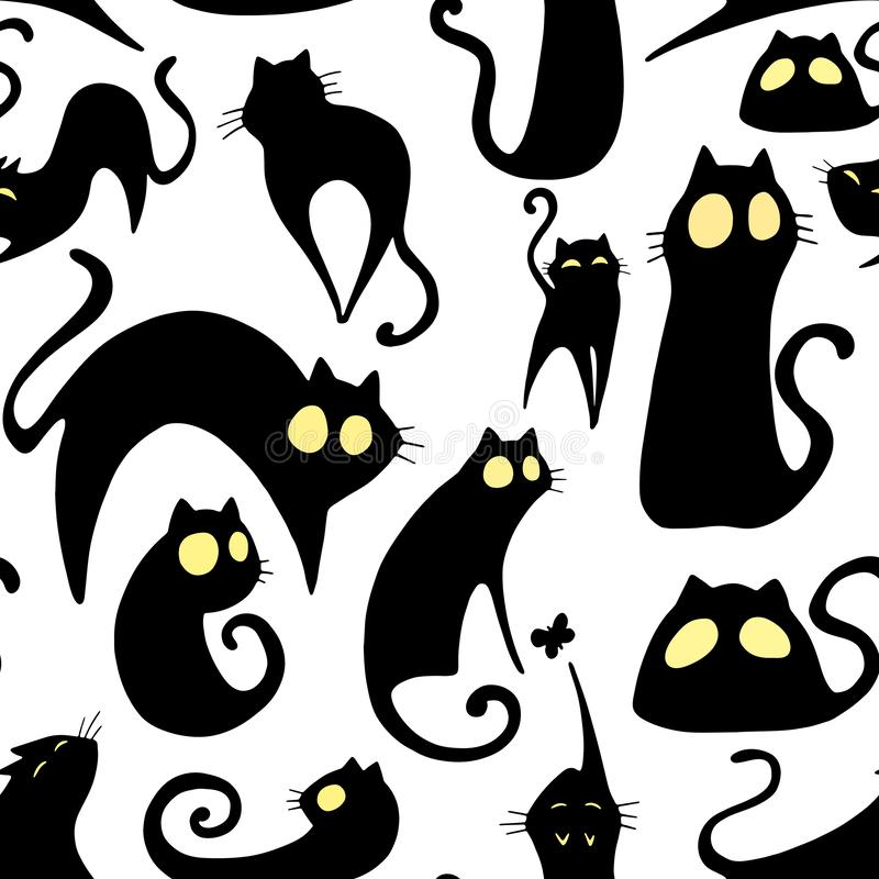 Cute cartoon vector repeating funny pattern with black cats with yellow eyes. stock illustration