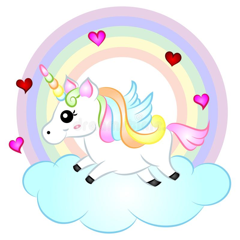 Cute Cartoon Vector Unicorn with Rainbow. Cute Cartoon Vector Unicorn with wings running on clouds with rainbow Illustration isolated on white background royalty free illustration