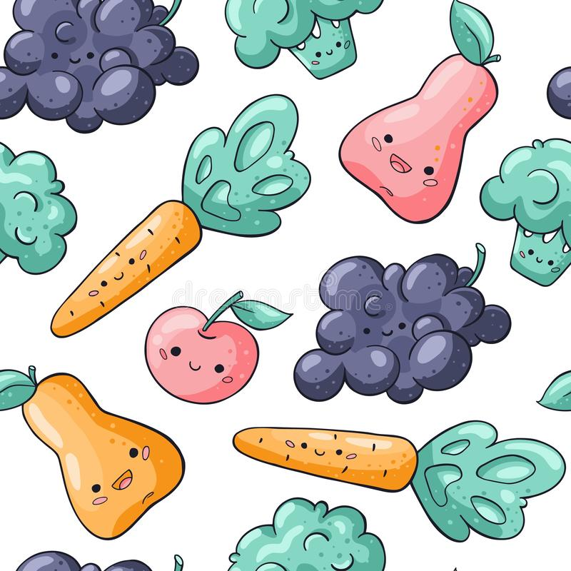 Cute cartoon vegetables and fruits seamless pattern on white background. Healthy food seamless pattern in doodle style stock illustration