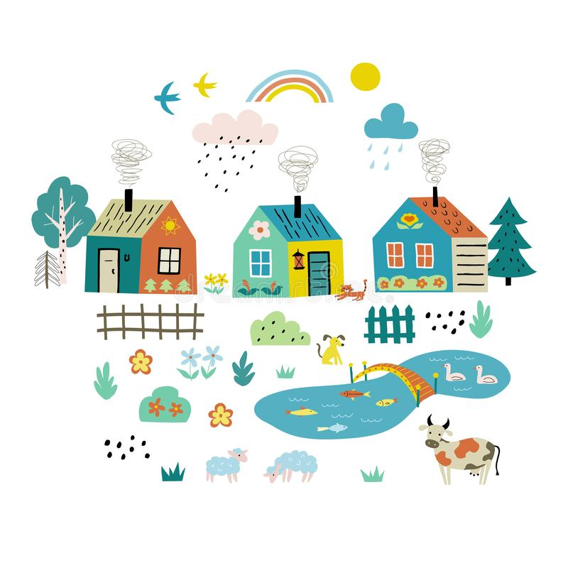 Cute cartoon village. Funny doodle landscape with country houses, trees, flowers, pets, pond. Hand drawn flat vector illustration stock illustration