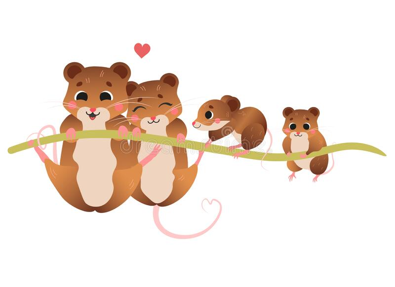 Cute cartoon vole family vector image. Male and female voles with their little voles. Forest animals for kids. Isolated on white royalty free illustration