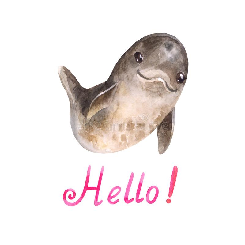 Cute cartoon watercolor dolphing says `hello royalty free stock images