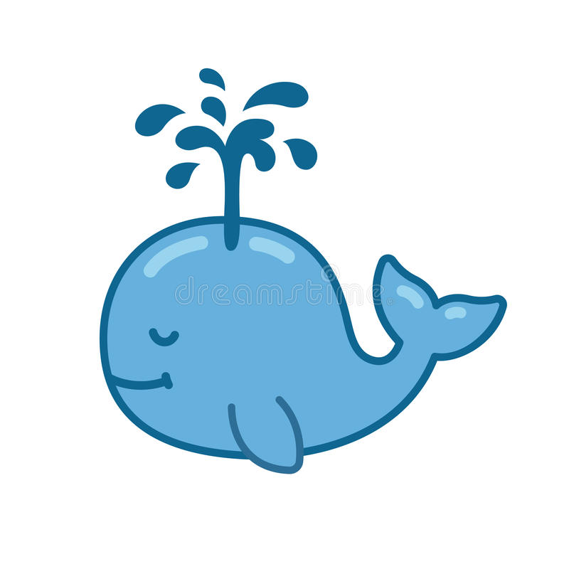 Cute cartoon whale. Drawing with water fountain. Hand drawn vector illustration vector illustration