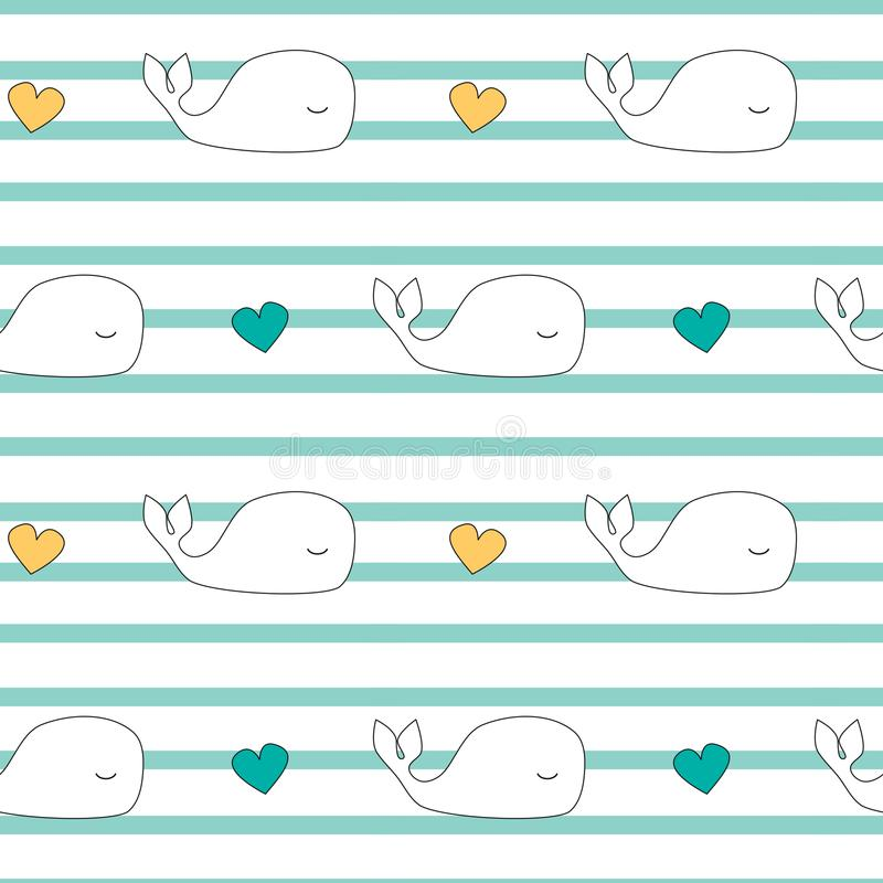 Cute cartoon whales seamless vector pattern background illustration royalty free illustration