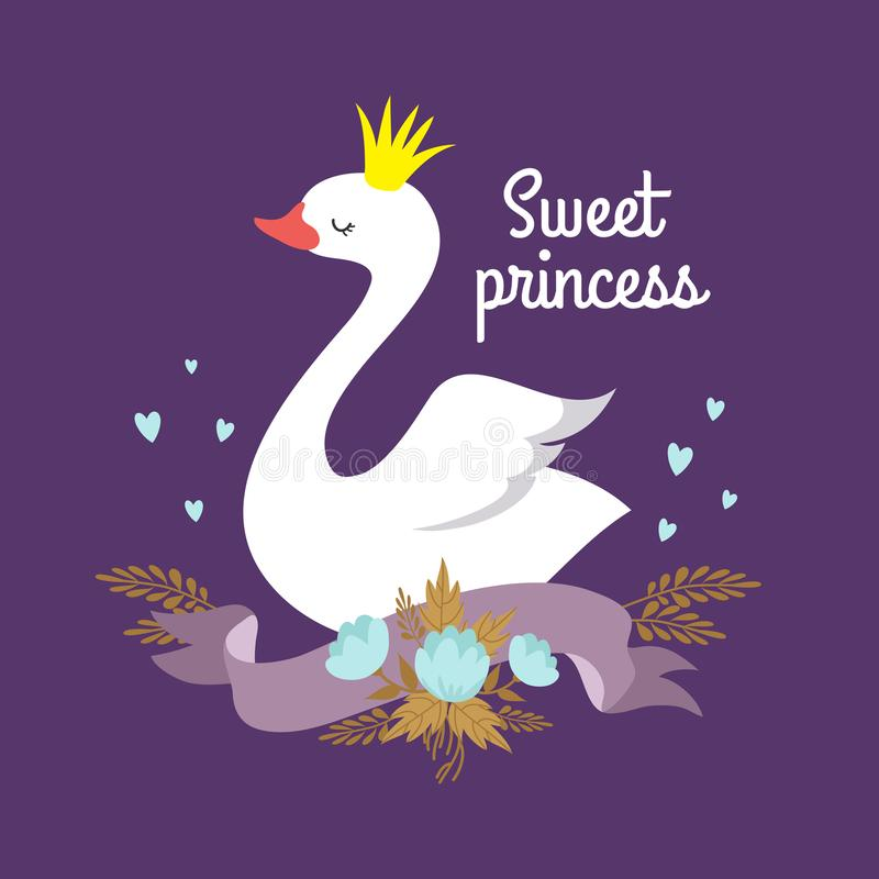 Cute cartoon white baby swan princess vector graphics for poster or girl t-shirt. Illustration of bird, sweet princess card or poster royalty free illustration