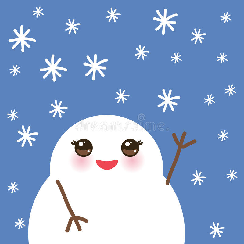 Cute cartoon white kawaii snowmen with snowflakes on blue background for winter design. Vector stock illustration