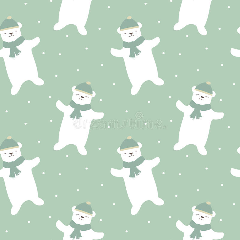 Cute cartoon white polar bear with snow seamless pattern background illustration royalty free illustration