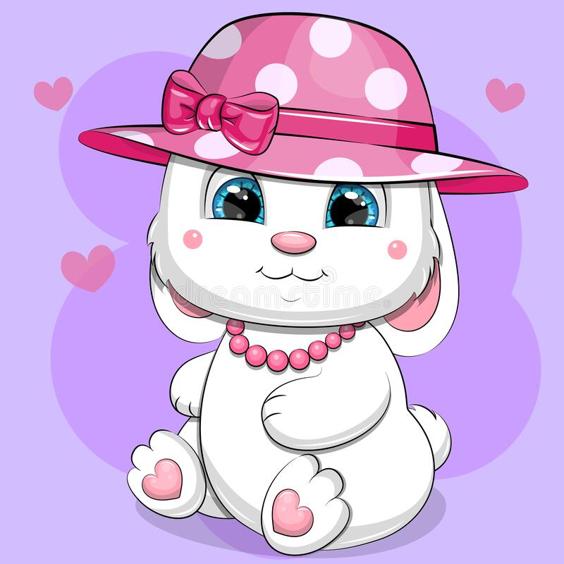 Free Cute Cartoon White Rabbit In Pink Hat And Necklace. Stock Photography - 216030482