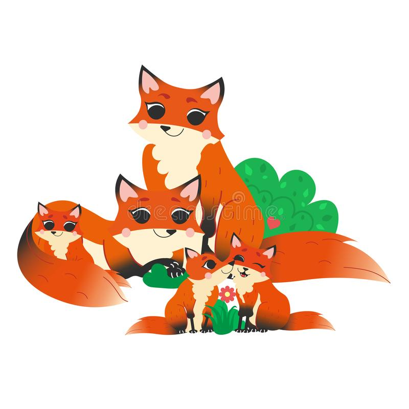 Cute cartoon wild fox family vector image. Male and female foxes with their pups. Forest animals for kids. Isolated on white stock illustration