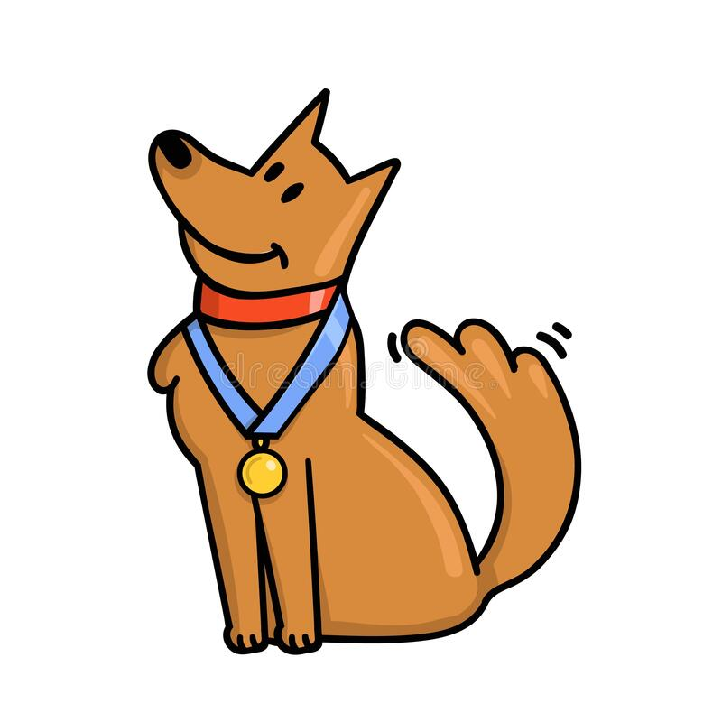 Cute cartoon winner dog with gold medal on the neck. Champion with award on a collar. Flat vector illustration isolated royalty free illustration