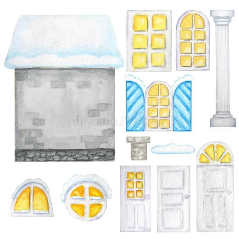 Cute cartoon winter gray house, windows, doors constructor on white background. Elements set Perfect for creating your vector illustration