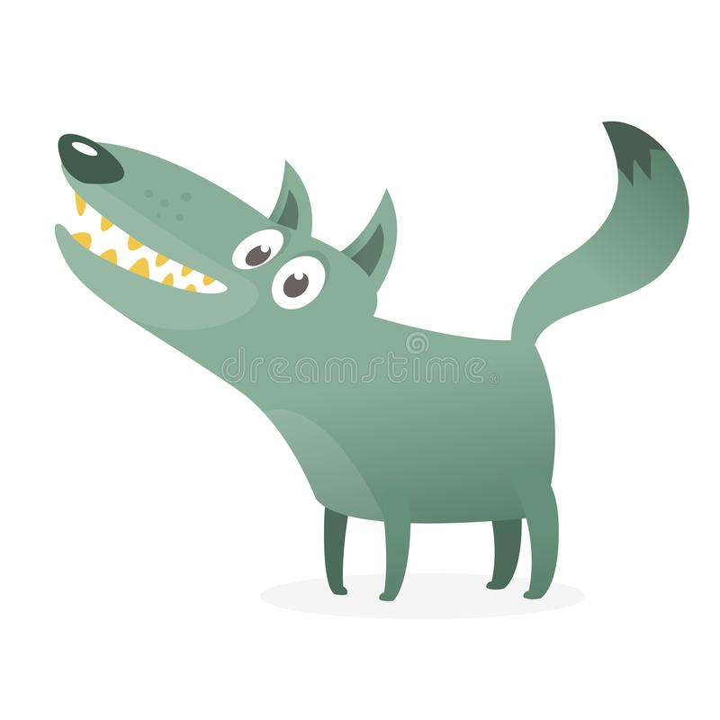 Cute cartoon wolf character. Wild forest animal collection. Vector wolf  illustration stock illustration