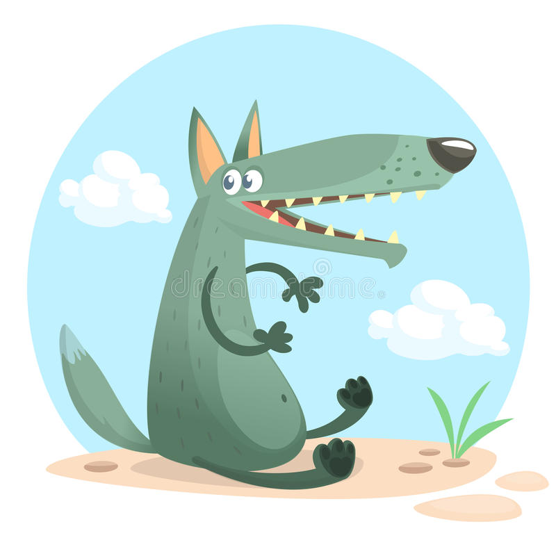 Cute cartoon wolf character. Isolated. White background. Flat design Vector illustr. Cute cartoon wolf character. Wild forest animal collection. Baby education stock illustration