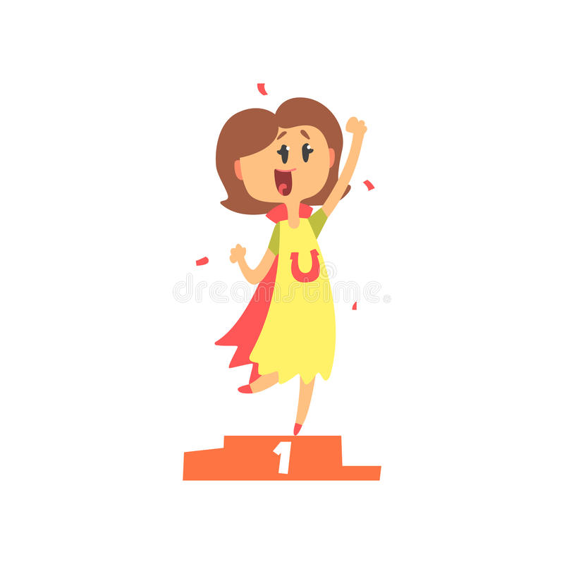 Cute cartoon woman standing on winner podium and holding her fist up. Colorful character vector Illustration stock illustration