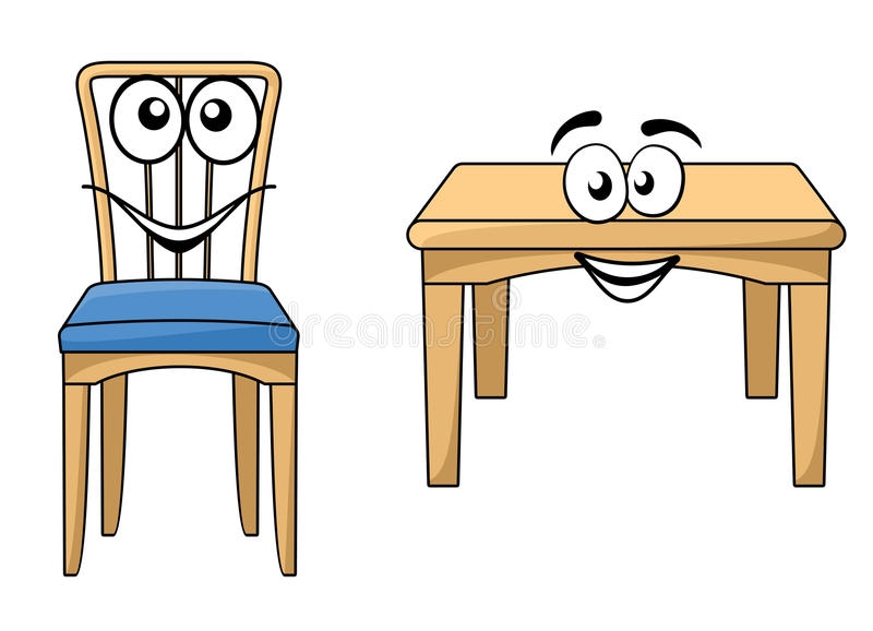 Cute cartoon wooden furniture stock vector illustration