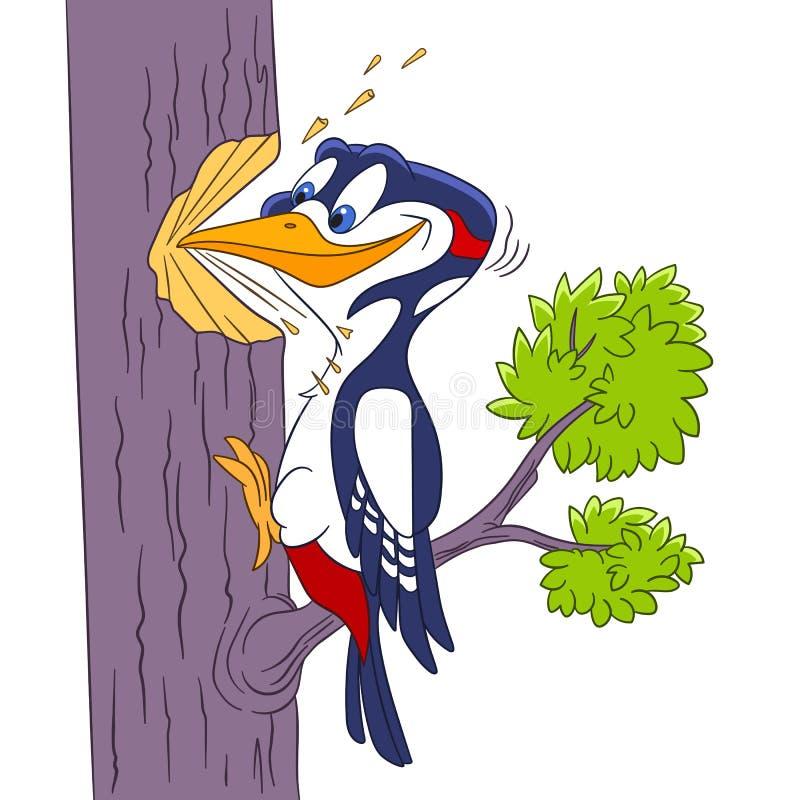 Cute cartoon woodpecker royalty free stock photography