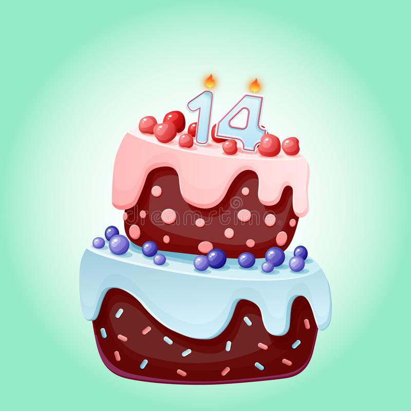 Prime Happy Birthday Cake Card 14 Fourteen Year Party Stock Vector Funny Birthday Cards Online Alyptdamsfinfo
