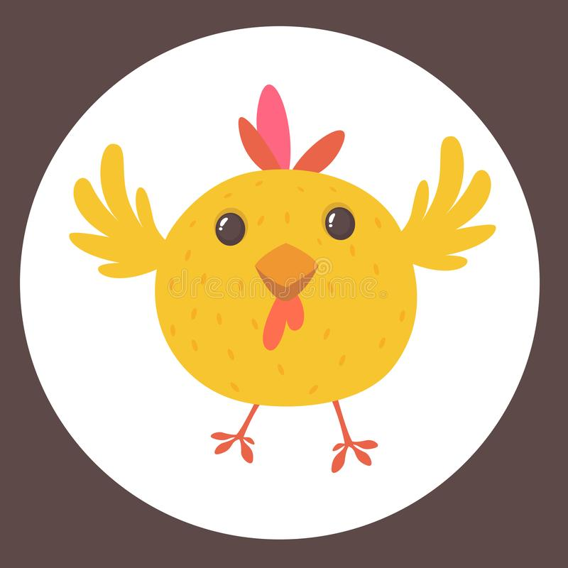 Cute cartoon yellow chicken blinking eye. Farm animals. Vector illustration of a cute chicken. Mock up for print decoration isolated on white stock illustration