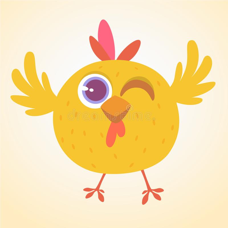 Cute cartoon yellow chicken blinking eye. Farm animals. Vector illustration of a cute chicken. Mock up for print decoration. Isolated on white royalty free illustration