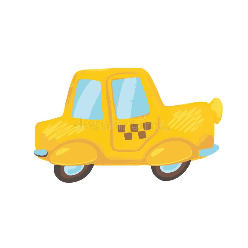 Cute cartoon yellow taxi car. Taxi vector illustration on white background. Public transport textured image. Colorful vector icon of yellow car. Taxi service vector illustration