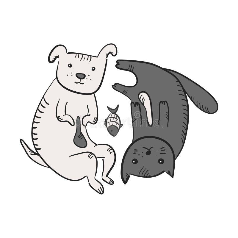 Cute cartoon yin yang symbol with cat, dog, fish vector illustration
