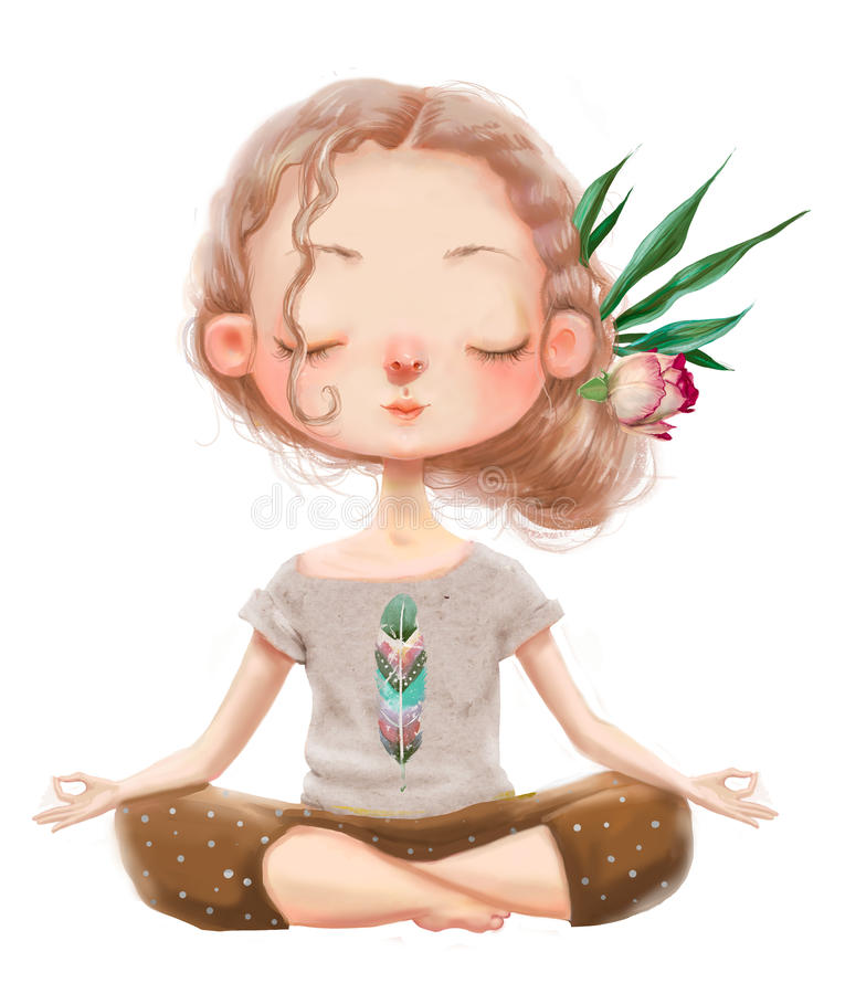 Cute cartoon yoga girl royalty free illustration