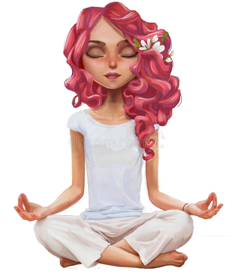 Cute cartoon yoga girl. Cute cartoon girl in yoga lotus pose stock illustration