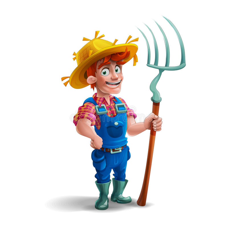 Cute cartoon young guy farmer in straw hat and holding pitchfork on white background. royalty free illustration