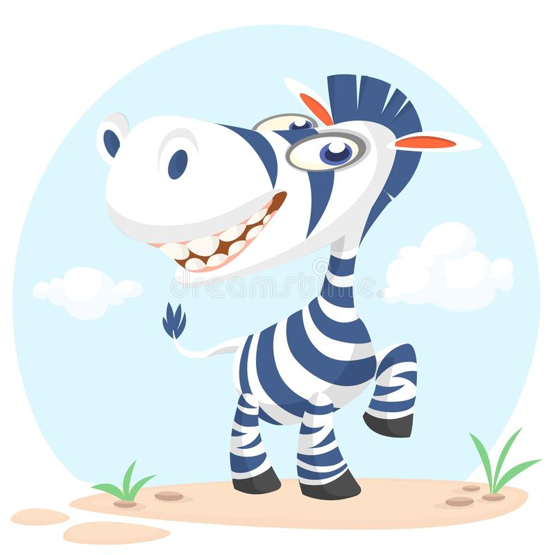 Cute cartoon zebra character. Wild animal collection. Baby education. Isolated vector illustration. royalty free illustration