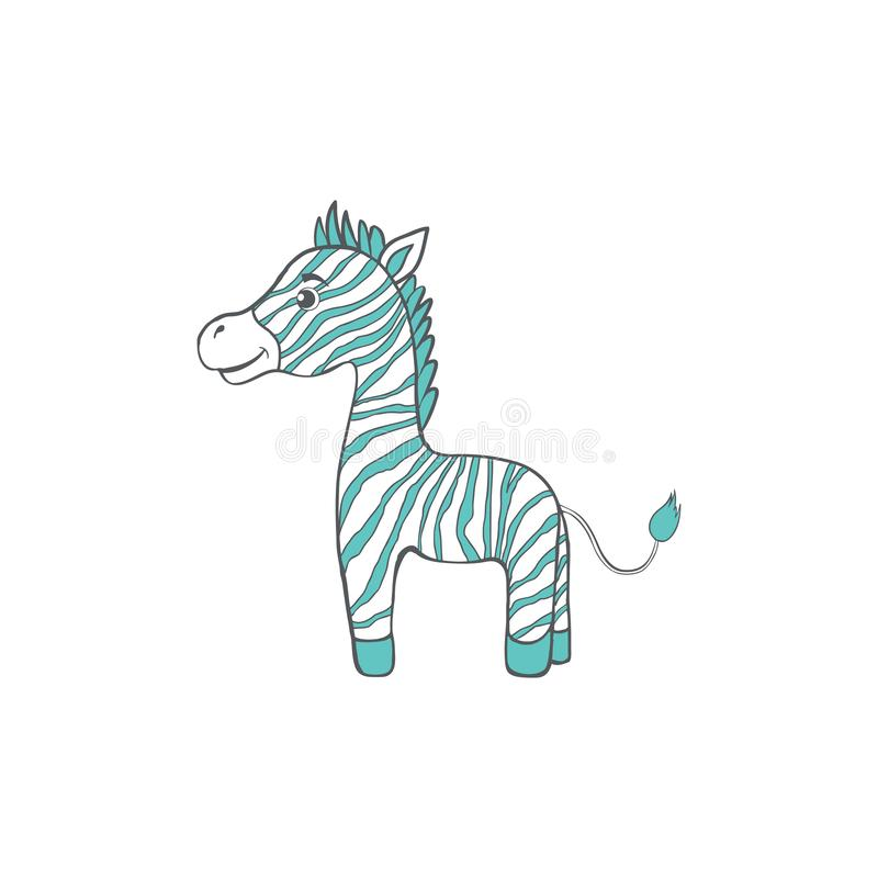 Cute cartoon zebra, kid wild animal, vector funny illustration mammal isolated on white background, decorative colorful royalty free illustration