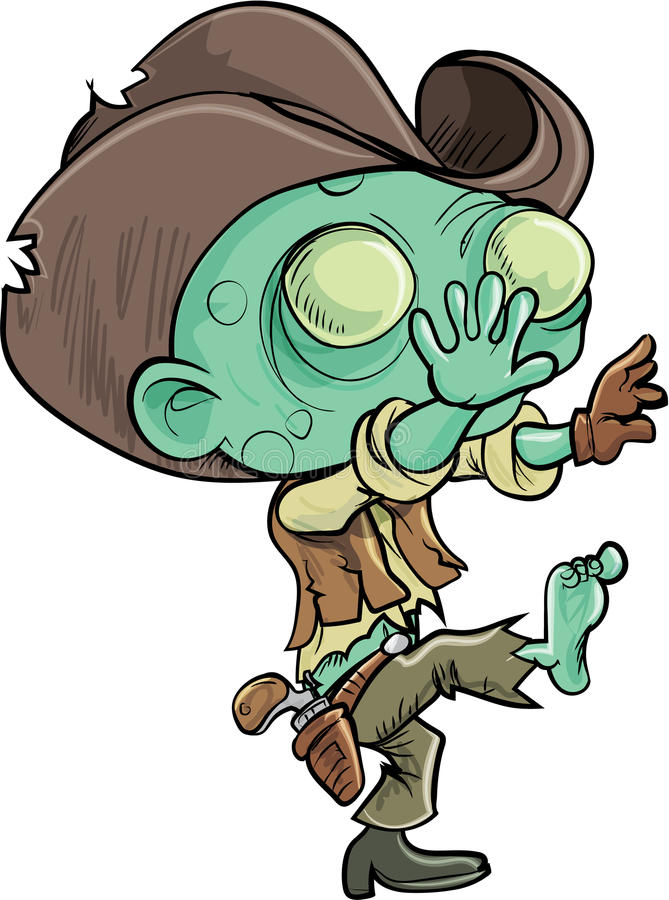 Cute cartoon zombie cowboy. Isolated on white royalty free illustration