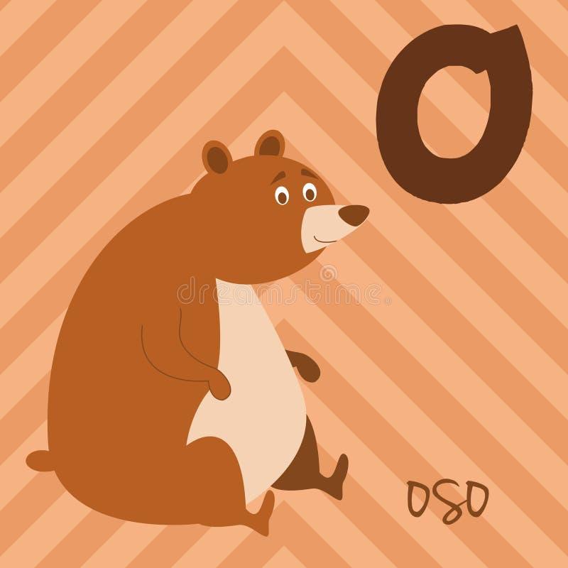 Cute cartoon zoo illustrated alphabet with funny animals. Spanish alphabet: O for Oso. vector illustration