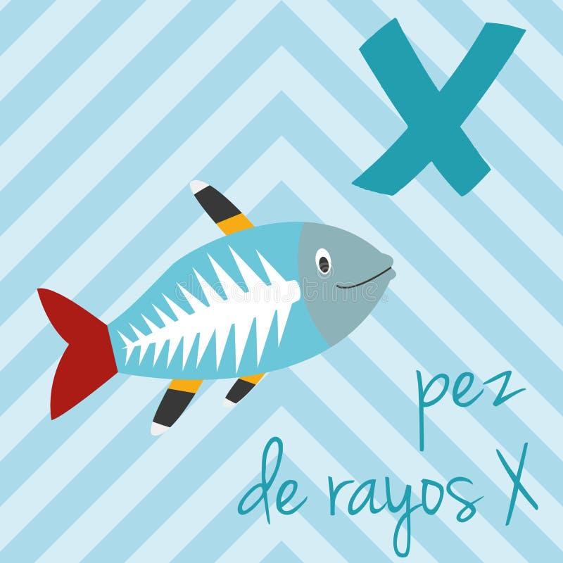 Cute cartoon zoo illustrated alphabet with funny animals. Spanish alphabet: X for Pez de Rayos X. royalty free illustration