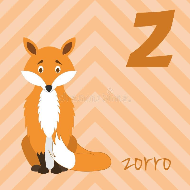Cute cartoon zoo illustrated alphabet with funny animals. Spanish alphabet: Z for Zorro. stock illustration
