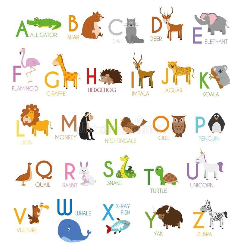 Cute cartoon zoo ilustruje alfabet z zabawnymi zwierzętami Alfabet angielski ilustracja wektor