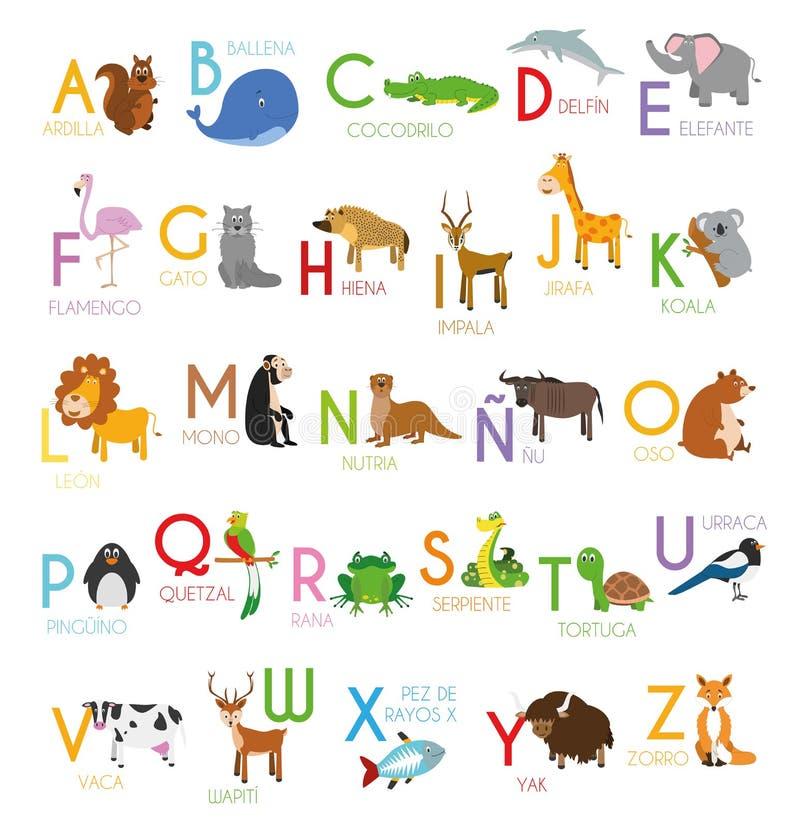 Cute cartoon zoo ilustruje alfabet z zabawnymi zwierzętami Alfabet hiszpański ilustracji