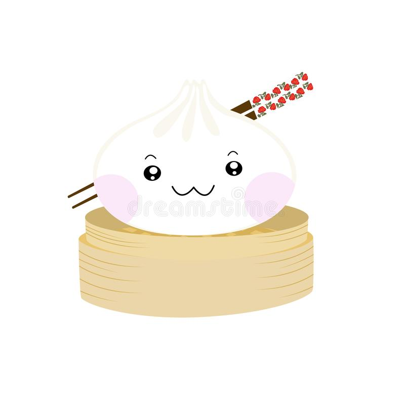 Cute cartoons dym sum, med roliga leende ansikten,kawaii asian food vetor illustration vektor illustrationer