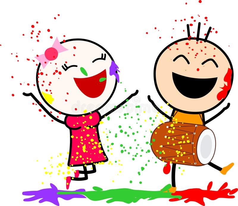 A cute cartoons playing with colors and dancing with joy. stock photos